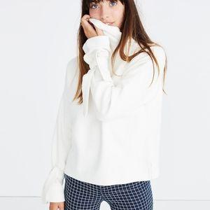 Madewell Cream Cowl Neck Tie Sleeve Sweater NWT